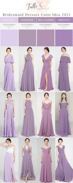 Fall wedding color ideas with mismatched purple bridesmaid dresses in passion, lavender, bell flower and amethyst Purple Bridesmaid Dresses, Wedding Bridesmaids, Junior Bridesmaids, Prom Dresses, Wedding Dresses, Fall Wedding Colors, Summer Wedding, Long Shorts, Wedding Ideas