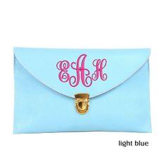 Monogram Envelope Purse - Light Blue Simply Southern Monograms