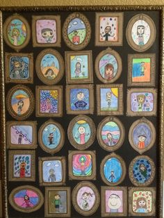 framed self portraits of my son's class for the school auction - we made the mini frames out of brown paper and put all of them in a larger frame.- I love the way their personalities came out in their drawings.
