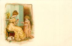 bonnie bairns, children,  Helen Jackson unsigned Set Comment u/b, ART, DESIGNED IN ENGLAND, CHROMOGRAPHED IN SAXONY First Use:	02/05/190 -mother winds wool as girl holds yarn