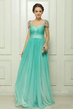 Abendkleider Long 2014 Newest Arrive Blue Chiffon Cap Sleeves Beaded Formal Evening Dresses Gowns $144.63