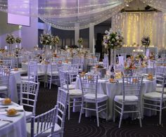 Mauve and white wedding reception. Styled by Greenstone Events.