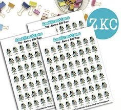Bill Pay Retro Ladies Planner Stickers  Small Planner