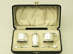 A fine and impressive vintage George VI English sterling silver three piece condiment set in the Art Deco style - boxed; an addition to our dining silverware collection Style Vintage, Vintage Fashion, Condiment Sets, George Vi, Art Deco Fashion, Clear Acrylic, Container, Sterling Silver, Antiques