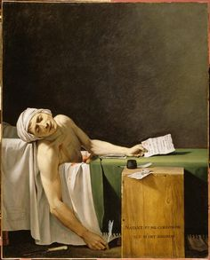 Marat assassiné, 1793. Jacques-Louis David. Marat was always in the bath, even worked in it. And received visitors while in it. His last visitor was assassin Charlotte Corday on a hot July day in 1793. Madame Tussaud later claimed David worked from the cast she made of Marat's head. KA