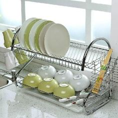 Home Basics 2 Tier Dish Rack Amusing Home Basics 2Tier Dish Rack  Dish Drainers Dish Racks And Steel Design Decoration