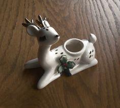 Lefton Christmas Deer Candle Holder Christmas Figurine 1950s