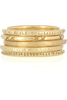Mathias Chaize | Set of five gold-plated rings | NET-A-PORTER.COM
