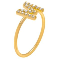 1/6 CT. T.W. Round-cut CZ Initial M Pave Set Ring in Sterling Silver - Gold, 10, Gold Letter - M