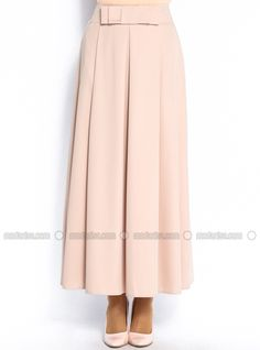 Waist Skirt with Bow Detail - Beige - Burcum By B.C.C.