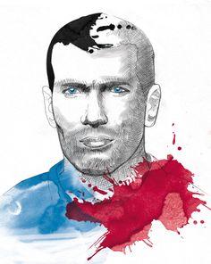 Zidane. France 00's Midfielder #EuropeDreamTeam #Brazil2014 #Illustration