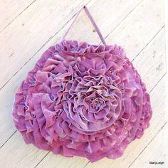 Mauve Silk Velvet Deconstructed Velvet Ruffle bag by Stacy Leigh