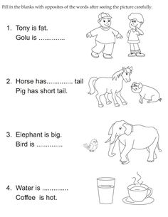 Fill in the blanks with opposites words after seeing the picture carefully English Activities For Kids, English Grammar For Kids, English Worksheets For Kindergarten, Learning English For Kids, Teaching English Grammar, English Grammar Worksheets, 2nd Grade Worksheets, English Lessons For Kids, Reading Worksheets