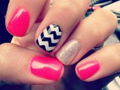 I like bright colours plus one nail with   monochromatic zig zags