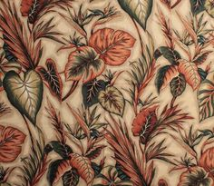 """Large scale, leafy botanical prints are apparently """"in"""" right now,but this style of barkcloth has always been hip with thevintage Hawaiiana and tiki-loving crowd. Case in point: Pam recently spotted this quadruple roll of historic vintage wallpaperon ebay. It was apparently the the famous """"Martinique"""" wallpaper from the Beverly Hills Hotel, and the roll sold …"""