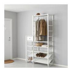 IKEA - ELVARLI, 3 Elemente, Diese offene Aufbewahrungskombination lässt sich nach Wunsch ergänzen oder verändern. Vielleicht gefällt sie dir so - wenn nicht, änderst du einfach nach Bedarf und Geschmack.Die niedrigen Seitenteile sind perfekt zum Ausnutzen des Raums bei schrägen Decken und Wänden.Versetzbare Böden und Kleiderstange für bedarfsangepasste Aufbewahrung.