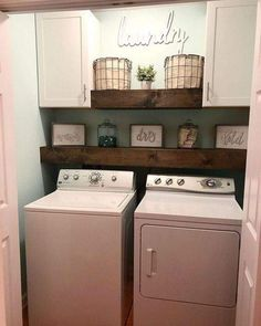 Rustic Laundry Rooms, Farmhouse Laundry Room, Laundry Room Design, Farmhouse Decor, Farmhouse Ideas, Modern Farmhouse, Laundry Room Curtains, Small Laundry Closet, Laundry Closet Makeover