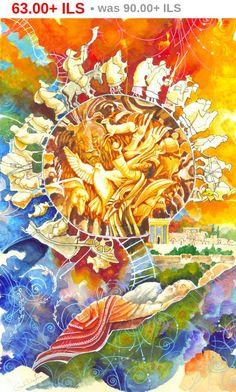 Pascha verkoop Jacobs Ladder joodse droom-Bijbelverhalen Joodse Home Wall Art Judaïca Art Print op Canvas Judaïca Jacob Ladder Israëlische kunstenaar