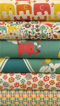 Rebekah Ginda for Birch Organic Fabrics, Frolic, Girl 6 FAT QUARTERS in Total