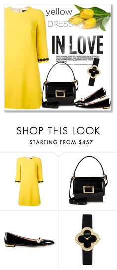 """""""In La La Land: Yellow Dresses"""" by andrejae ❤ liked on Polyvore featuring Dolce&Gabbana, Roger Vivier, Gucci, Van Cleef & Arpels, yellowdress, polyvoreeditorial and polyvorecontest"""