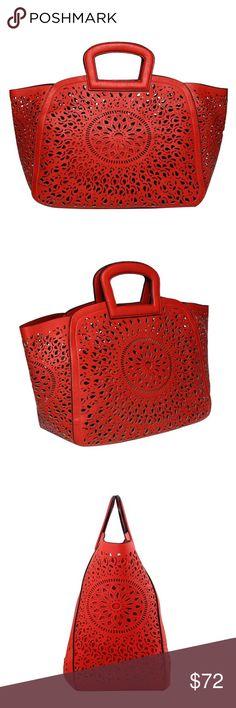 Spring 2017 Nancy Handbag Premium Vegan Leather Extra Removable Pouch With Top Zipper Detachable Crossbody Strap Interior Slim Pockets Interior Zipper Pocket Dimensions 19'L x 6'W x 12.5'H Handle Drop 3' Color: Red Melie Bianco Bags Satchels