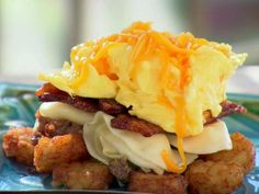 Garth's Breakfast Bowl recipe by Trisha Yearwood (Eggs, sausage, bacon, taters, and cheese)