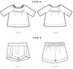 class picnic blouse + shorts sewing pattern - Flat front and elasticised back