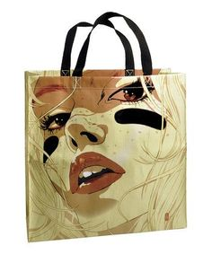 Recycled Plastic Handbag - Blue Q - Face Tote | Dylan's Unique Gifts & Weddings