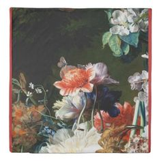 #PINK RED ANEMONES WHITE FLOWERSBUTTERFLY IN BLACK DUVET COVER - #wedding gifts #marriage love couples
