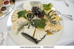 Appetizers on a wedding table,cheese - stock photo