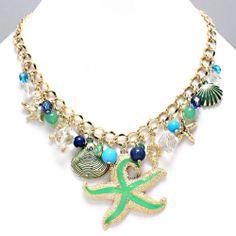 Chunky Gold Tone Nautical Sea Shells Star Fish Sea Life Beads Statement Necklace