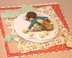 Tarjeta infantil realizada con los papeles BELLE & BOO  Ref:27928 disponible en www.artesaniasmontejo.com #manualidades #scrapbook