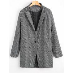 One Button Graphic Lapel Coat (135 PLN) via Polyvore featuring outerwear, coats, black and white coats, lapel coat i one button coat