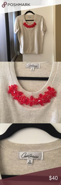 Cabi soft beaded t-shirt!😘💞 Beautiful beaded top which will add interest and drama to any outfit ! Love love love... never worn... CAbi Tops Tees - Short Sleeve