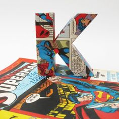 Great idea for a boy's room - First letter of his name covered in Superman comics