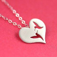 Love Birds Necklace in Silver by ANORIGINALJEWELRY on Etsy, $55.00