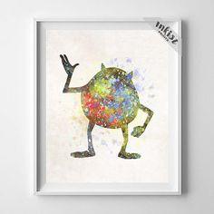 Monsters Inc Art, Monsters Inc, Mike Wazowski, Watercolor Art, Disney Art, Nursery Art, Giclee Wall Art, Baby Room Decor, Wall Art. PRICES FROM $9.95. CLICK PHOTO FOR DETAILS.#inkistprints #watercolor #watercolour #giftforher #homedecor #wallart #walldecor #poster #print #christmas #christmasgift #weddinggift #nurserydecor #mothersdaygift #fathersdaygift #babygift #valentinesdaygift #painting #dorm #decor #livingroom #bedroom
