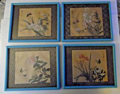 Lot Of Four Vintage Framed Asian Painted Floral On Silk