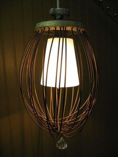 DIY - How to turn an industrial wire whisk into a pendant lamp