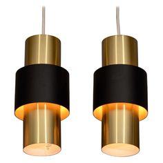 Pair of Danish Modern Cylindrical Brass Pendant Lamps 1