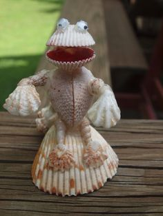 Vintage Hand Made Sculpture Seashell Frog Man Folk Art Figurine