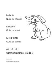 le lapin a du chagrin French Poems, French Kids, French Language Learning, Chant, English Class, Kids Songs, France, Cycle 1, Camille