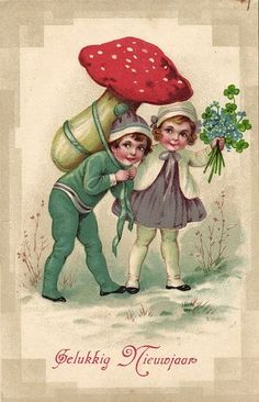 Children Carrying Large Mushroom