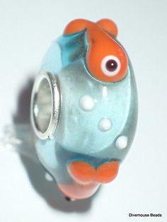 1-3D-glass-goldfish-European-charm-bead-lampwork-animal-bowl-fish-bubbles-cute