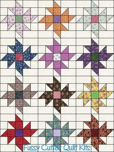 Scrappy Fabric Pinwheel Flowers Floral Easy to Make Pre-Cut Quilt Blocks Top Kit Squares - Picmia Star Quilt Patterns, Star Quilts, Mini Quilts, Quilt Blocks, Pinwheel Quilt Pattern, Patchwork Patterns, Quilting Tutorials, Quilting Projects, Quilting Designs