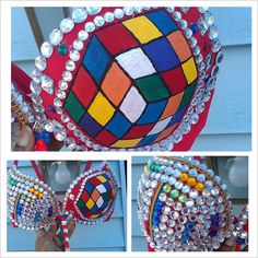 Rubic Cube Rhinestone rave bra handpainted with by Smokinghotdivas, $89.00