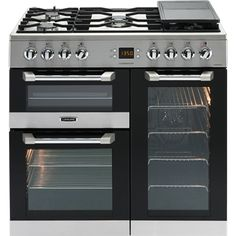 This stainless steel Leisure Cuisinemaster Dual Fuel Range Cooker offers three ovens, a built-in grill and a large gas hob so that you have every cooking option you'd want at your fingertips Electric Range Cookers, Dual Fuel Range Cookers, Electric Oven, Wok, Casserole En Fonte, Steel Cooker, American Style Fridge Freezer, Houses, Cleanser