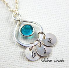 Personalized Mothers Necklace, Initial Necklace, Birthstone necklace, Infinity Necklace, Mothers Jewelry by Kikiburrabeads on Etsy https://www.etsy.com/listing/252848078/personalized-mothers-necklace-initial