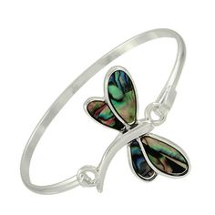 The Dragonfly is the spirit animal of pure potential...so proudly show yours with this beautiful silver abalone dragonfly bracelet. Rhodium Plated and Lead Compliant