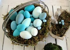 styrofoam eggs colored in different shades of blue